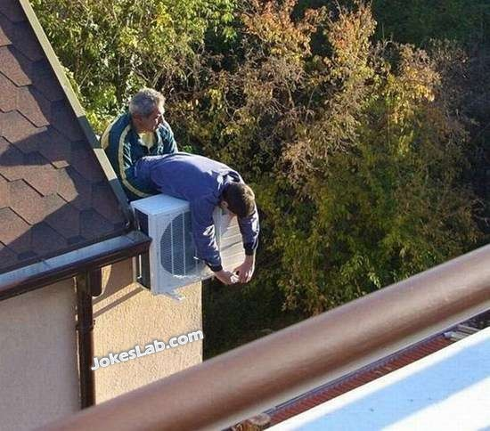 dangerous job, installation of AC unit