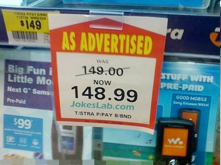 funny sale sign, as advertised