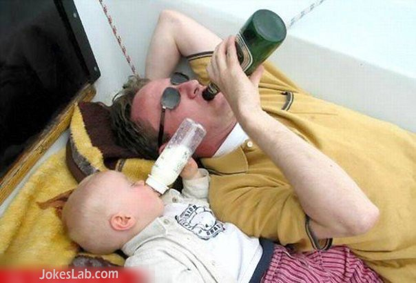 funny baby sitting, drink together