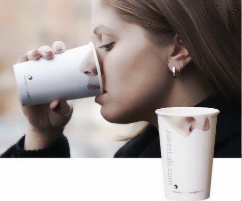 funny cup with mouth and nose