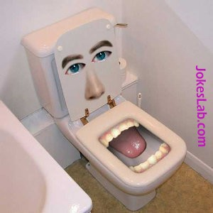 funny water closet, mouth licking your buttocks