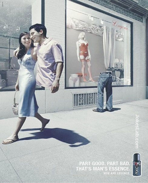 funny ad, man's essence, part good, part bad