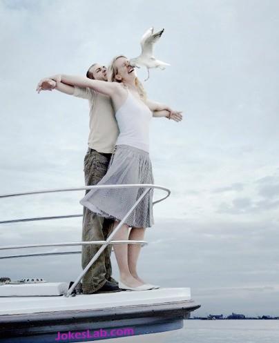 funny photo bomb, seagull spoils the romantic moment
