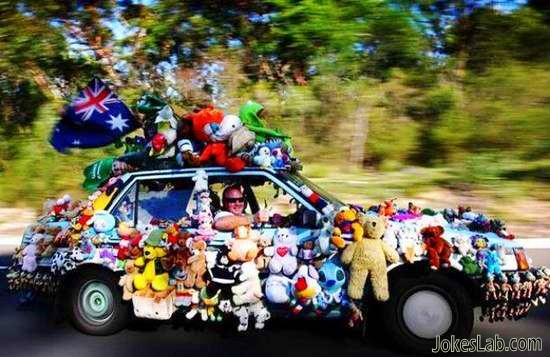 funny car with toys