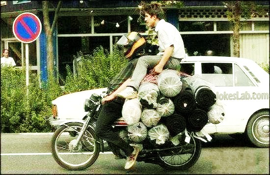 funny overloaded motorcycle