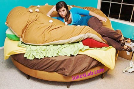 funny burger bed,