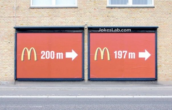 funny McDonald's sign, accurate distance