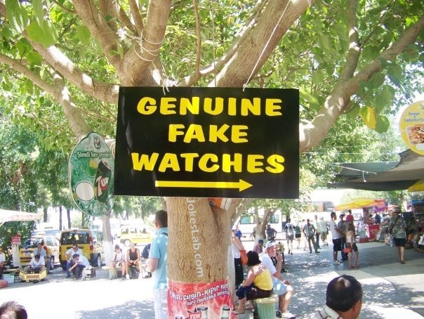 funny sign, genuine fake watches