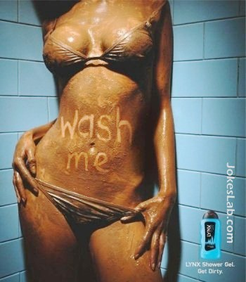 funny ad, shower gel for dirty woman, wash me